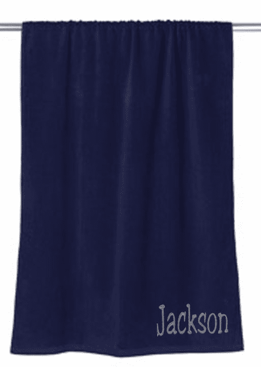 "Personalized Terry Velour Beach Towel Solid Navy 30""x 60"""