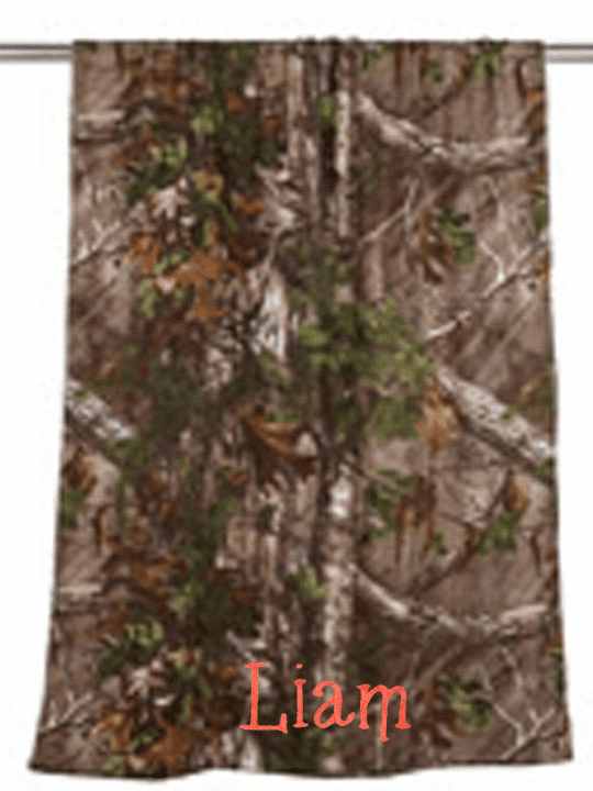 "Personalized Terry Velour Beach Towel Woodland Camouflage 30""x 60"""