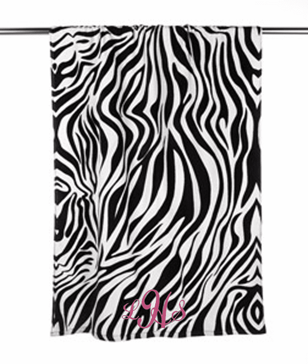 "Personalized Terry Velour Beach Towel Zebra Print 30""x 60"""