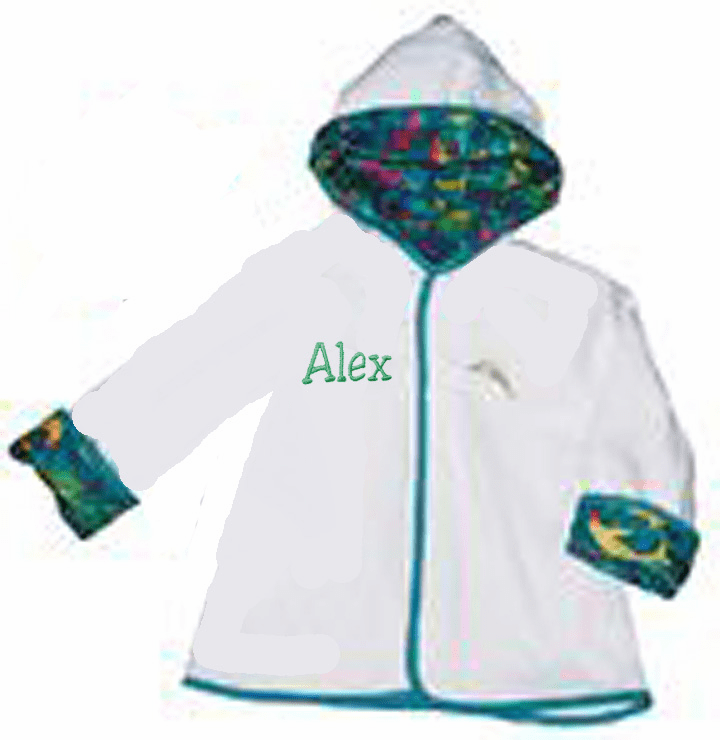Personalized Toddler Size 2-4 Terry White Dolphin Print Bath Robe - Turquoise Trim