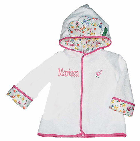 Personalized Toddler Size 2-4 Terry White Pink Floral Bath Robe - Pink Trim