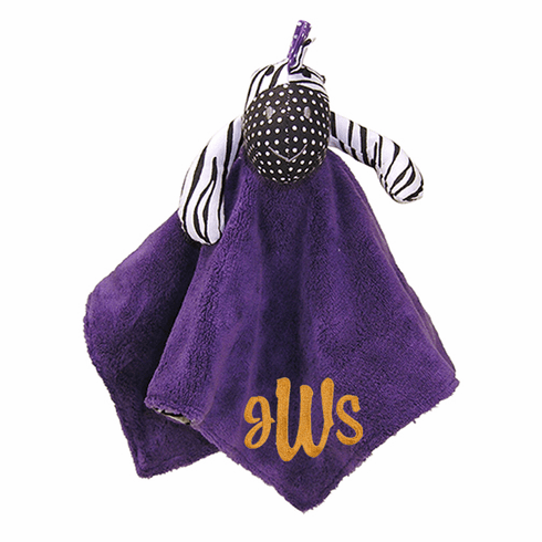 Personalized Trend Lab Grape Expectations Purple Zebra Snuggly Blanky