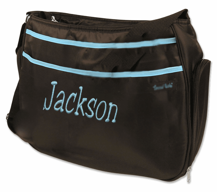 Personalized Trend Labs Black & Turquoise Diaper Bag w/Changing Pad & Pouch