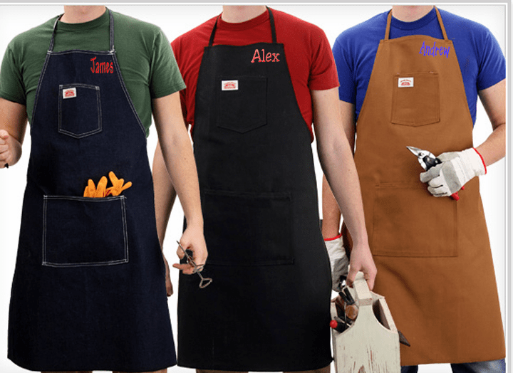 Personalized Two Pocket Shop Apron Blue Denim, Brown Duck, & Black Duck