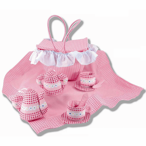 Personalized Unbreakable Child's Pink Soft Floral Fabric Tea Set