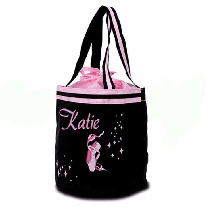 Personalized w/Embroidery Black Ballet Slipper Drawstring Tote