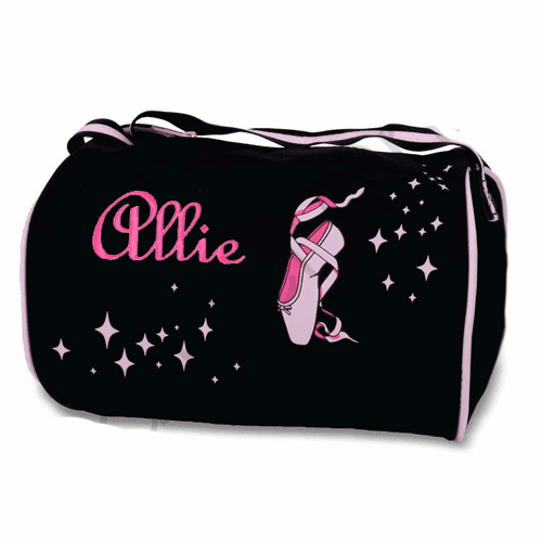 Personalized w/Embroidery Black Ballet Slipper Small Duffel