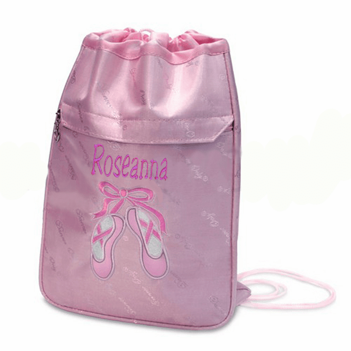 Personalized w/Embroidery Light Pink Sparkly Slippers Ballet Cinch Pack