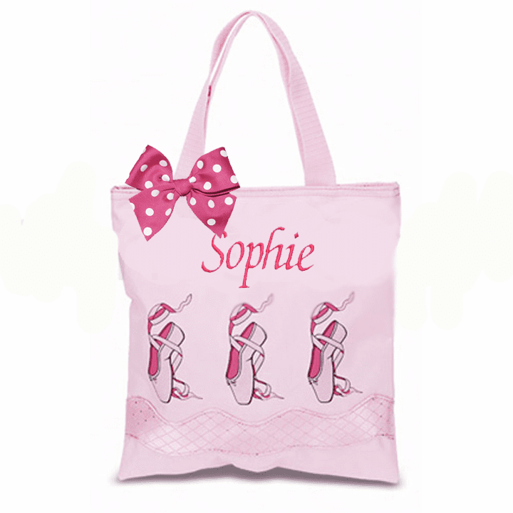 Personalized w/Embroidery Pink Ballet Slipper Small Tote & Bow