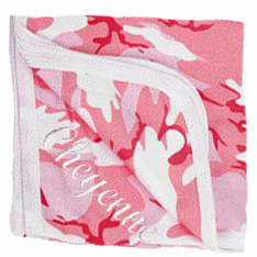 Personalized Wee Wearz� Receiving Blanket  Pink Camo Personalize Me