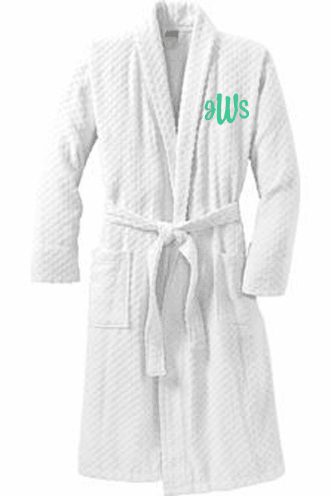 Personalized White 100% Cotton Checkered Terry Shawl Collar Robe