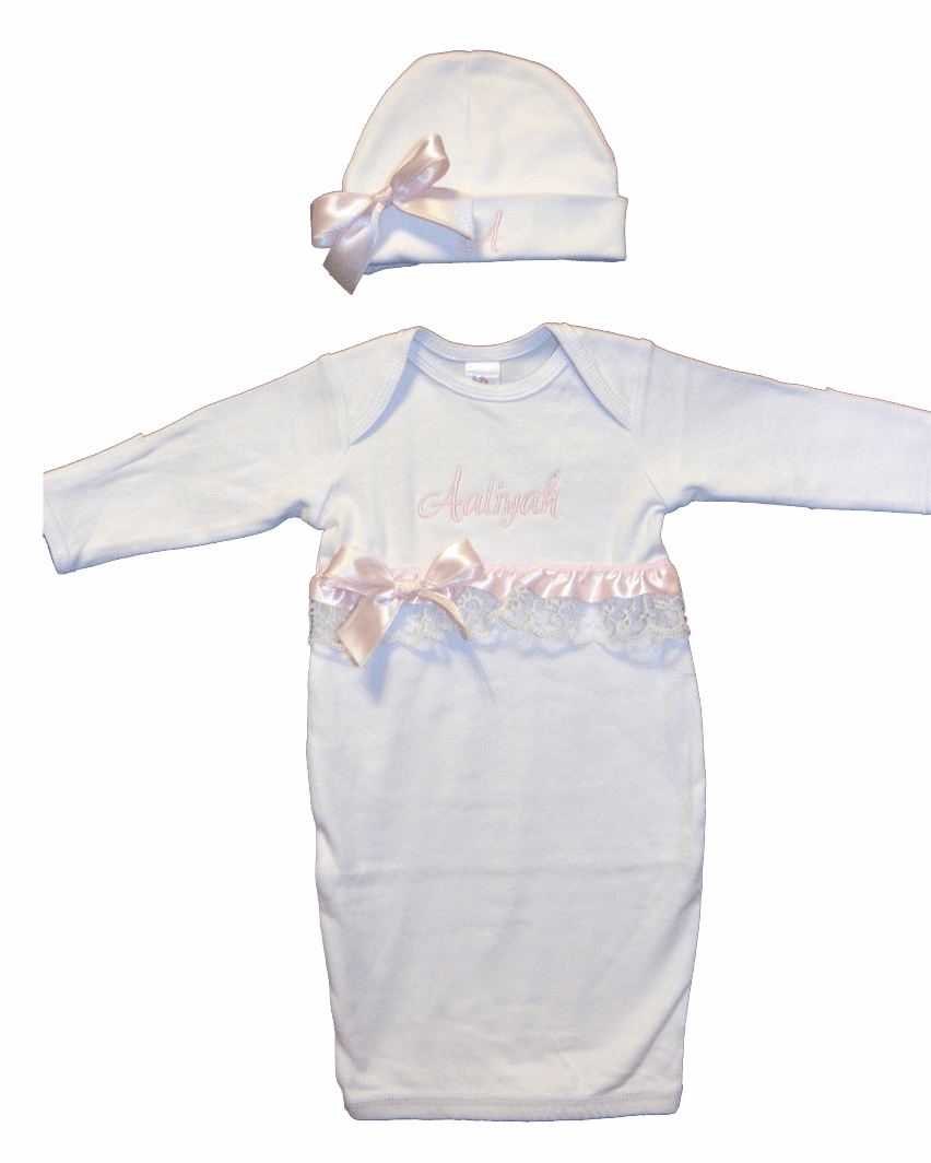 Personalized White Infant Baby Gown & Hat Set Pink Ribbons/Lace