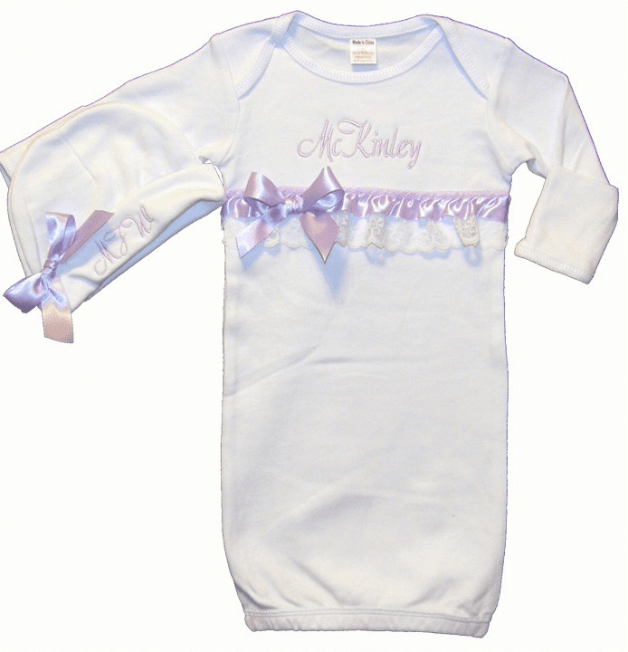 Personalized White Infant Baby Gown Lavender and Lace Trim