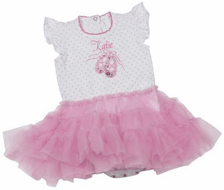 Personalized White & Pink Polka-dots Ballerina Onezee with Pink Tutu