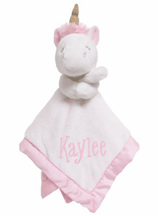 PERSONALIZED White & Pink Unicorn Security Snuggle Blanket
