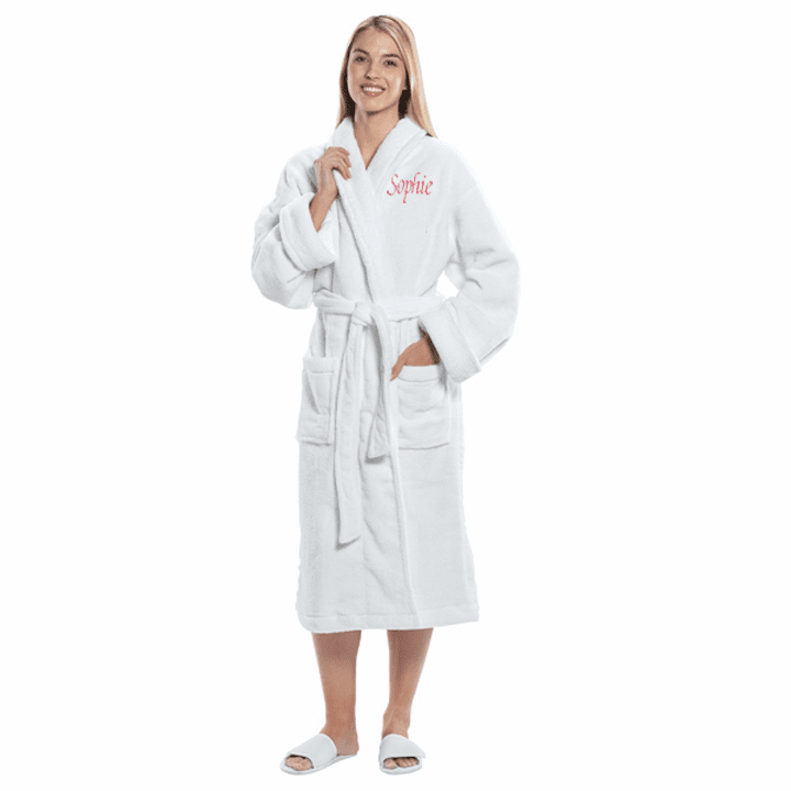Personalized White Terry Velour Kimono Robe  48""