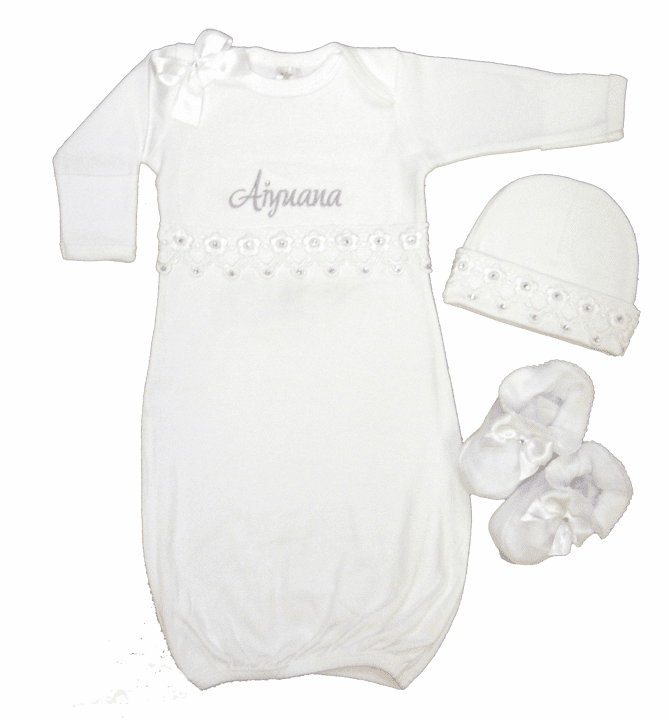 Personalized White With Elegant Venice Lace & Crystals  Infant Baby Layette Set