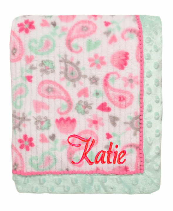 Personalized White with Mint and Shades of Pink Paisley Print Baby Blanket
