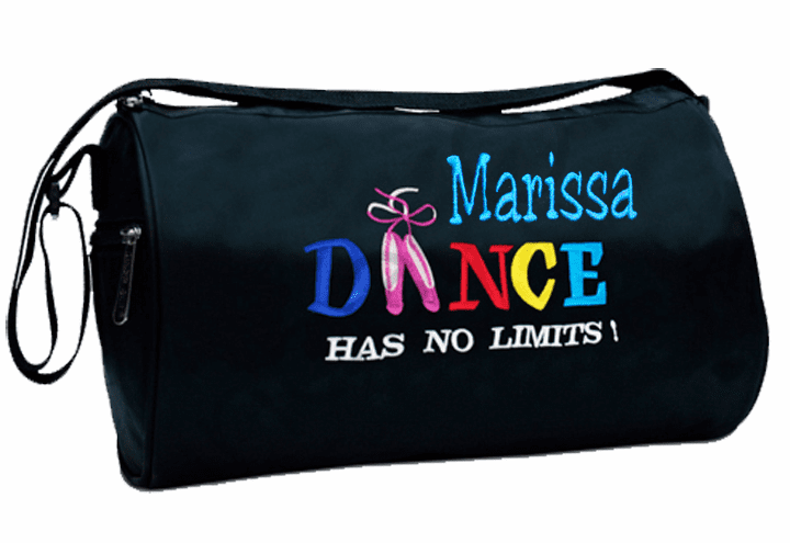 """Personalized with Embroidery Black """"Dance Has No Limits"""" Small Duffel"""