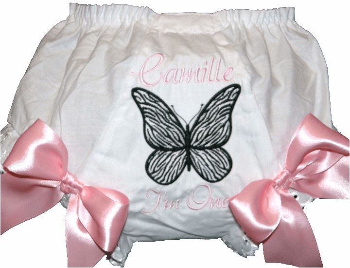 Personalized Zebra Butterfly Diaper Cover Bloomers Light Pink Bows