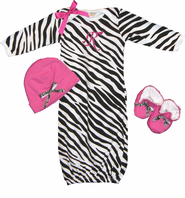 Personalized Zebra & Hot Pink Infant Baby Gown, Hat & Booties Set