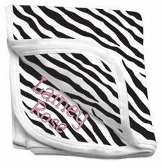 Personalized Zebra Print 100% Interlock Cotton Receiving Blanket