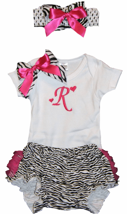 Personalized Zebra Print & Hot Pink  Baby Girl Onezee, Diaper Cover and Headband Set