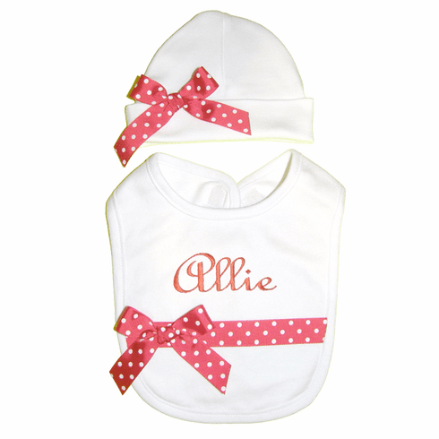 Personaqlized Embroidered White Cotton Ribbon Trimmed Bib & Hat Set
