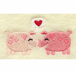 Piggies in Love Handkerchief Embroidery Design hank12