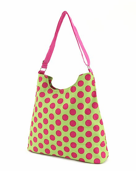 Clearanced Pink Dot on Lime Large Shopper Tote Bag
