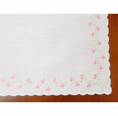 Pink Floral Four Side Embroidered Cotton Handkerchief Personalize Me