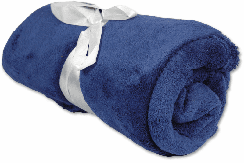 "Personalized Embroidered Plush Fleece Blanket - Navy 50"" x 60"""
