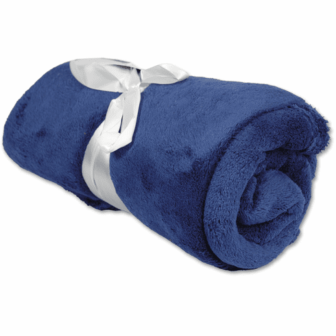 """Personalized Embroidered Plush Fleece Blanket - Navy 50"""" x 60"""""""