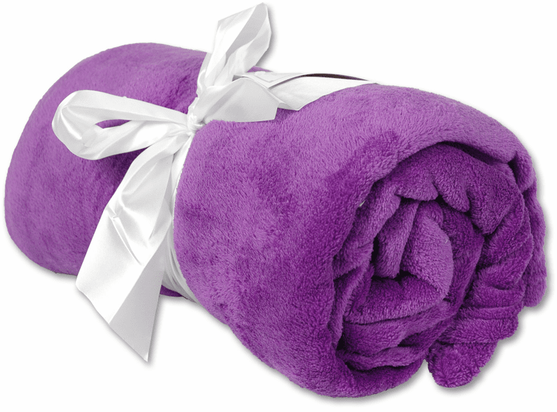 """Personalized Embroidered Plush Fleece Blanket - Purple  50"""" x 60"""""""
