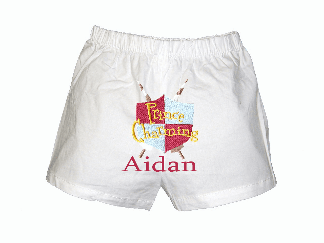 Prince Shield Personalized Baby Infant Boxers White