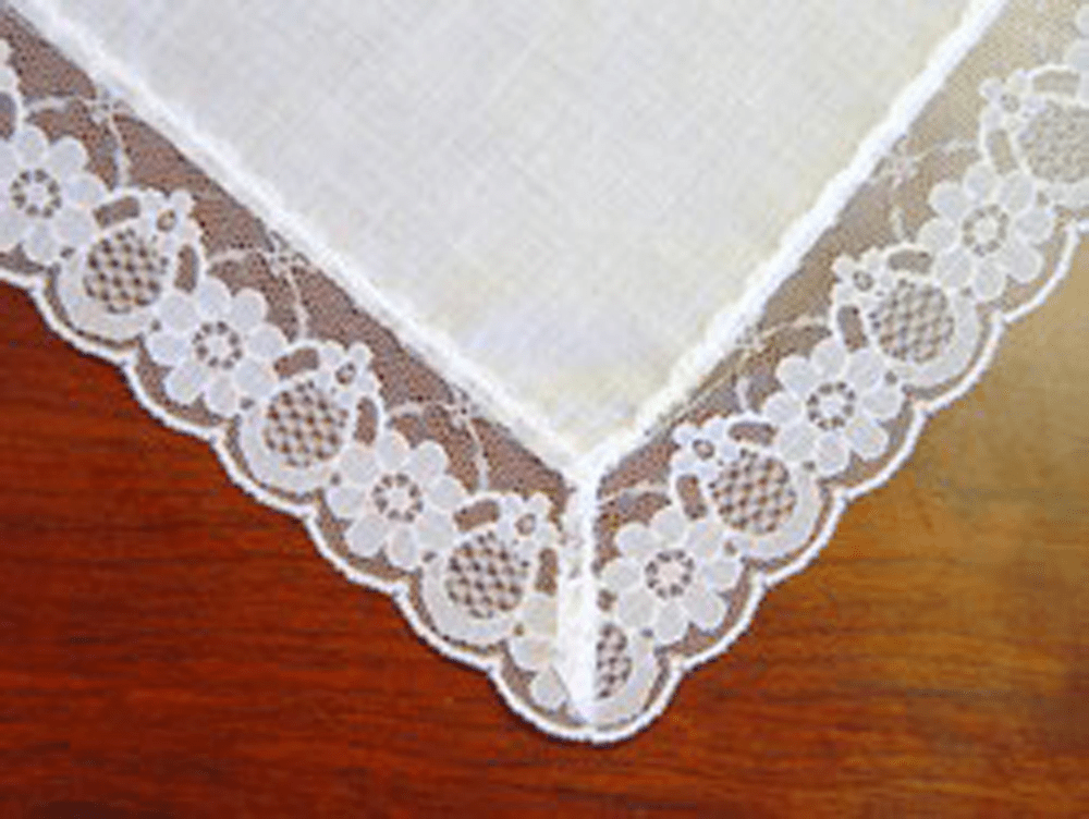 Princess Lace Handkerchief White 100% Cotton