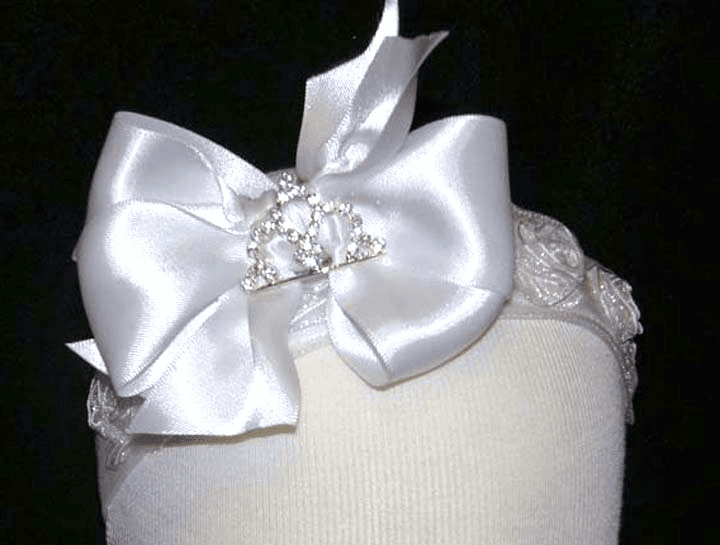 Princess Rhinestone White Satin Bow Organza Rose Lycra Headband