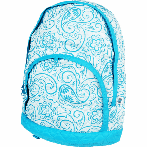 Quilted Backpacks Aqua Paisley
