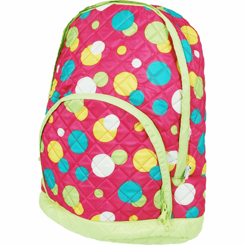 Quilted Backpacks Pink Dots