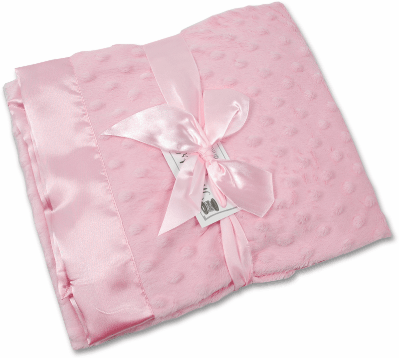 Receiving Blanket - Pink Minky Dot/Pink Satin Personalize Me