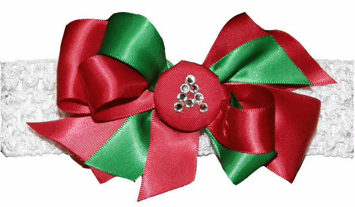 Red & Green Satin with Gem Initial Button on White Crochet Headband