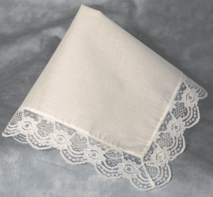 Regal Lace White Cotton Ladies Handkerchief Beautiful Lace Trim