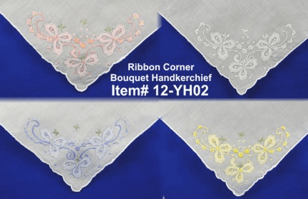 Ribbon Corner Bouquet Corner Handkerchief
