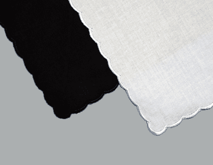 Satin Stitched Scalloped Edge Handkerchief - White or Black