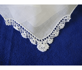 Scalloped Corner Crochet Handkerchief - White