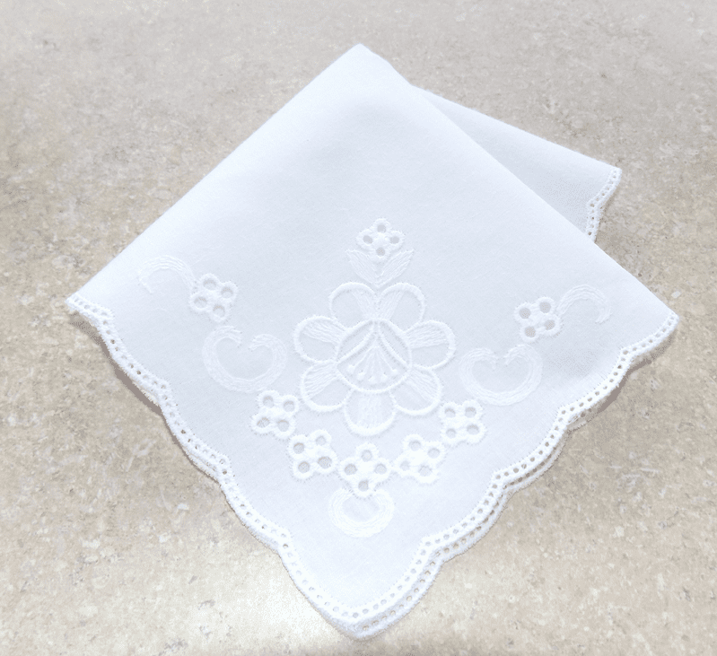 Scalloped Edged White on White Floral Corner 100% Cotton Ladies Handkerchief