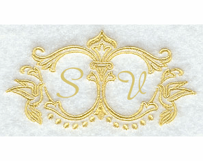 Scrollwork Wedding Handkerchief Embroidery Design hank17