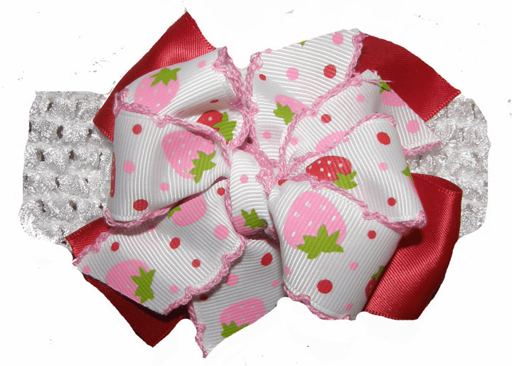 Strawberries Ribbon Red & Pink Bow on Crocheted Headband