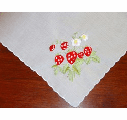 Strawberries Scalloped Border Embroidered Cotton Handkerchief Personalize Me