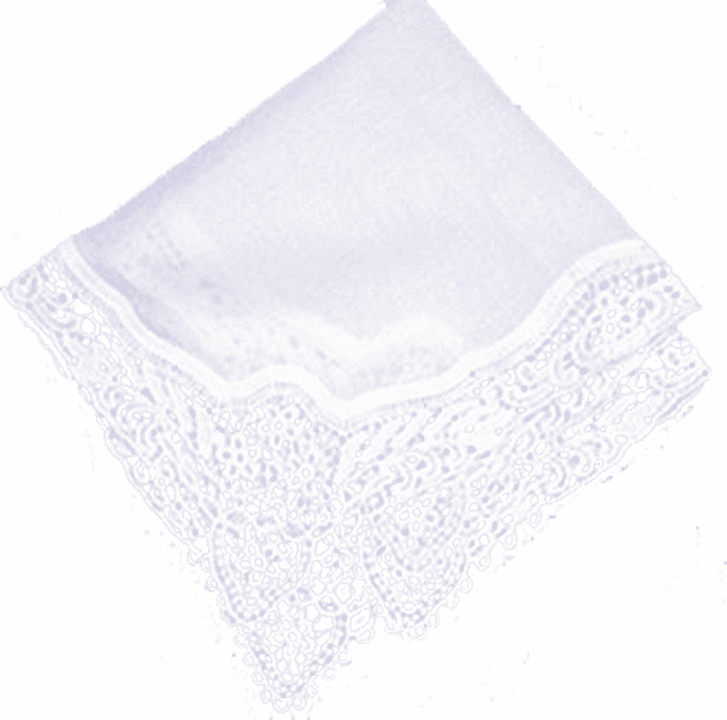 "Strikingly Detailed White Cotton Wedding ""Floral Garden"" Lace Ladies' Handkerchief"